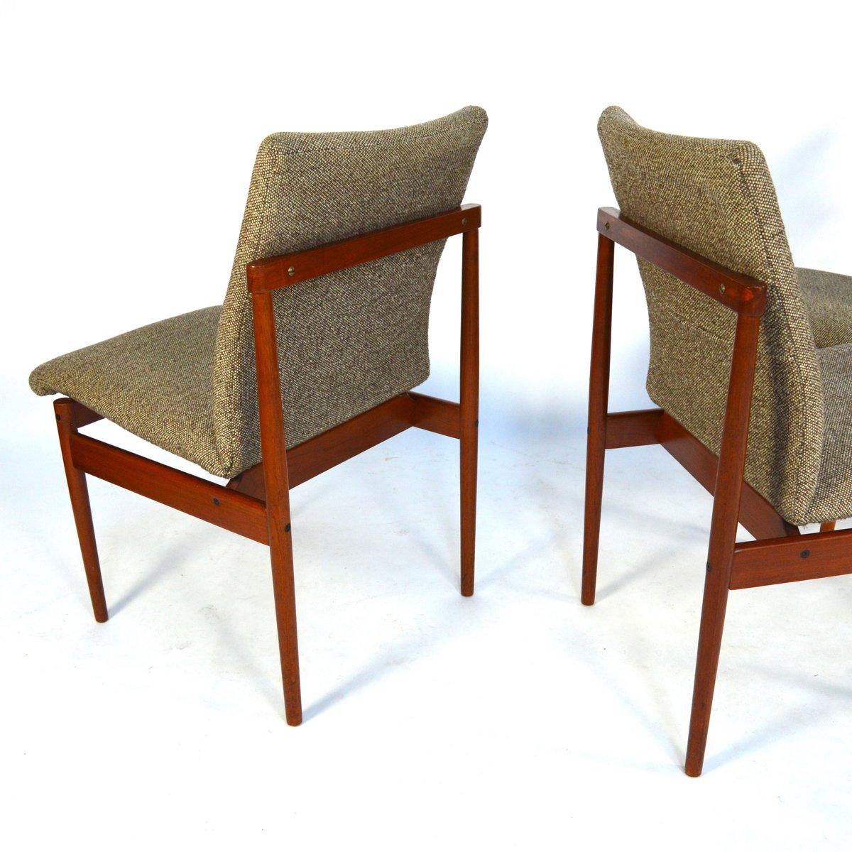 vintage esszimmerst hle aus teak und stoff von thereca 4er set bei pamono kaufen. Black Bedroom Furniture Sets. Home Design Ideas