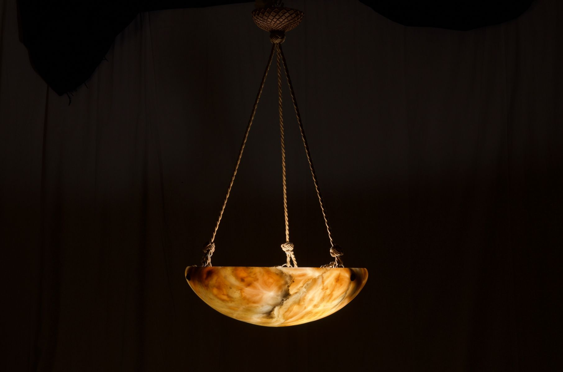 French Art Deco Alabaster Chandelier 1920s for sale at Pamono