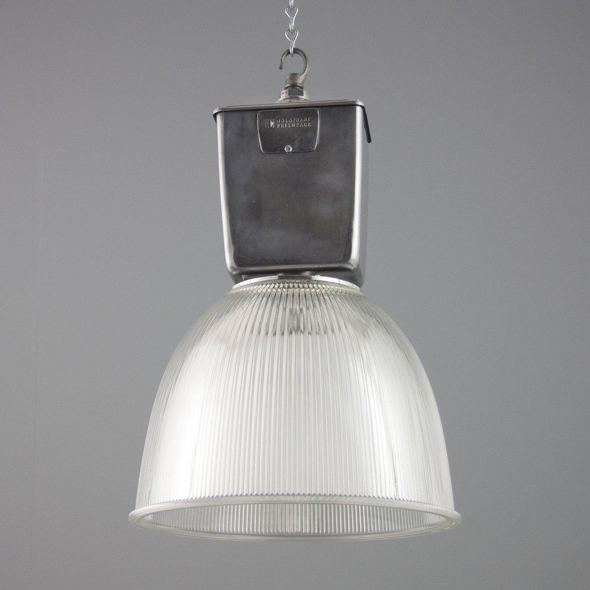 lampe suspension vintage industrielle par holophane en. Black Bedroom Furniture Sets. Home Design Ideas