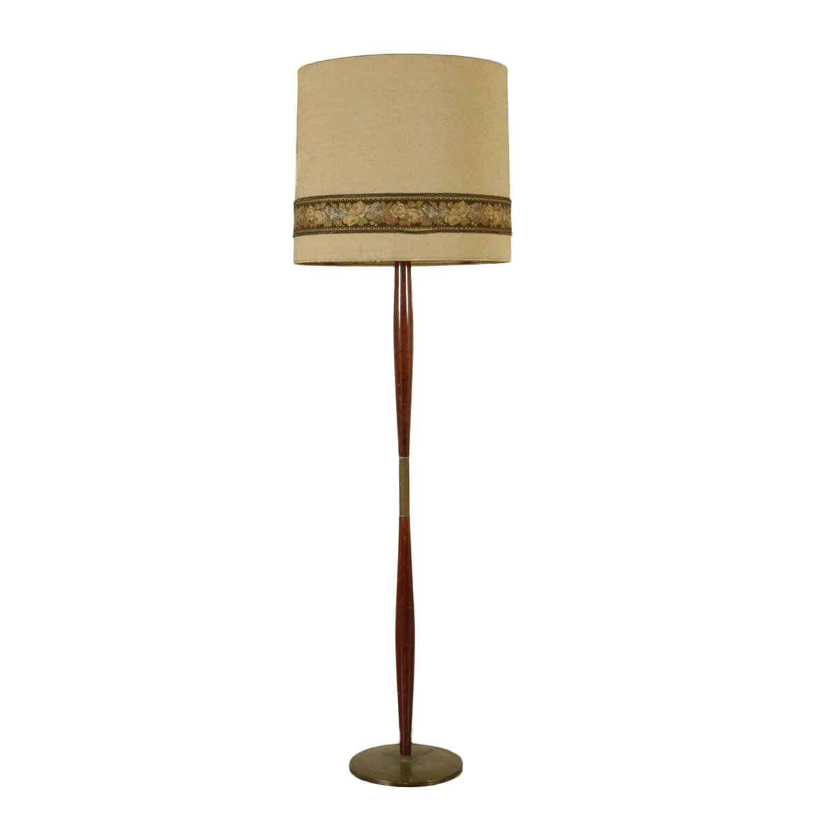 Wood and brass floor lamp 1950s for sale at pamono for 1950 s brass floor lamp