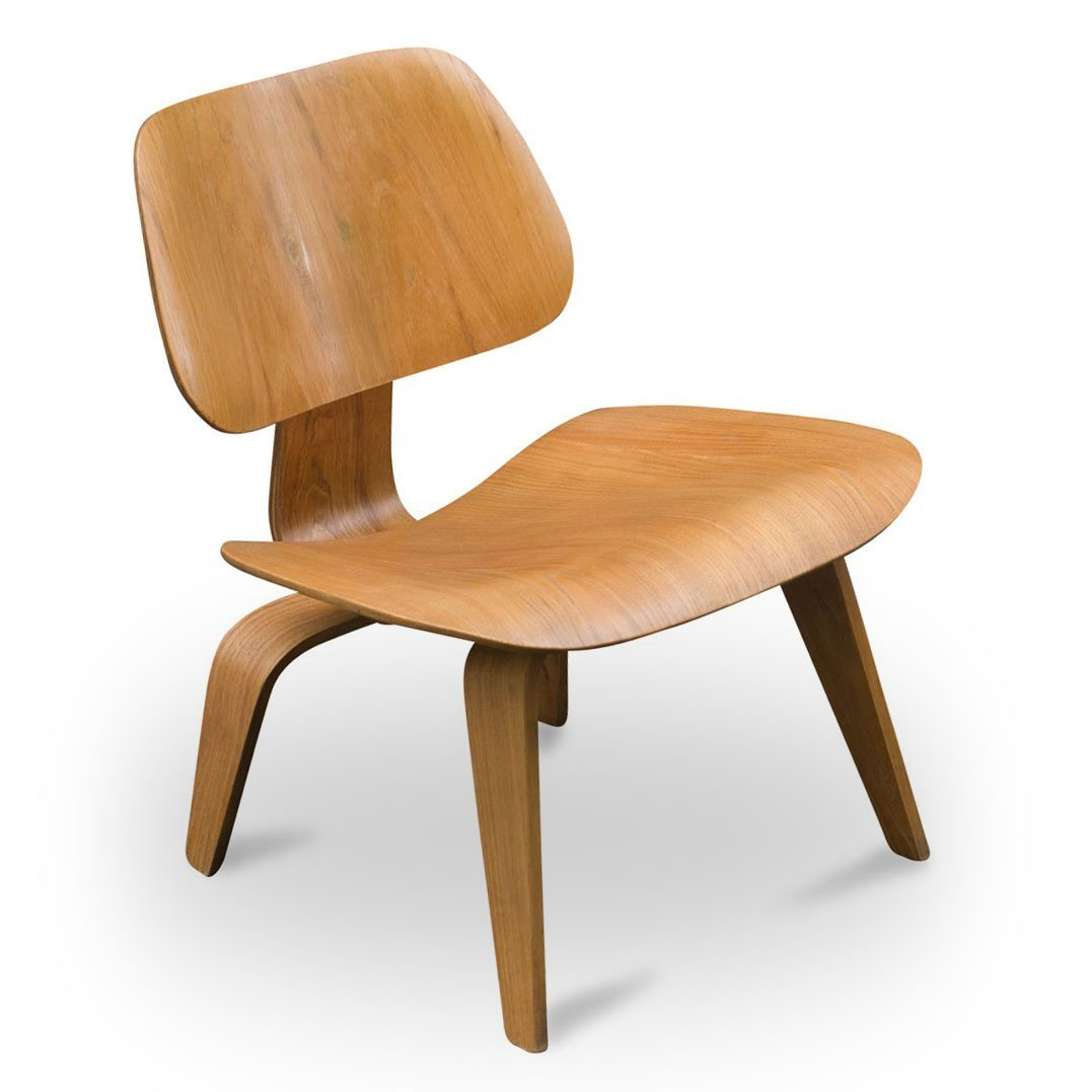 Vintage lcw eichen stuhl von charles ray eames f r for Charles eames stuhl
