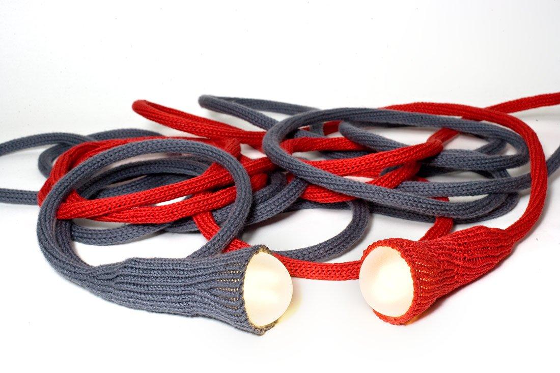 matte lampe aus roter gestrickter wolle von llot llov bei pamono kaufen. Black Bedroom Furniture Sets. Home Design Ideas