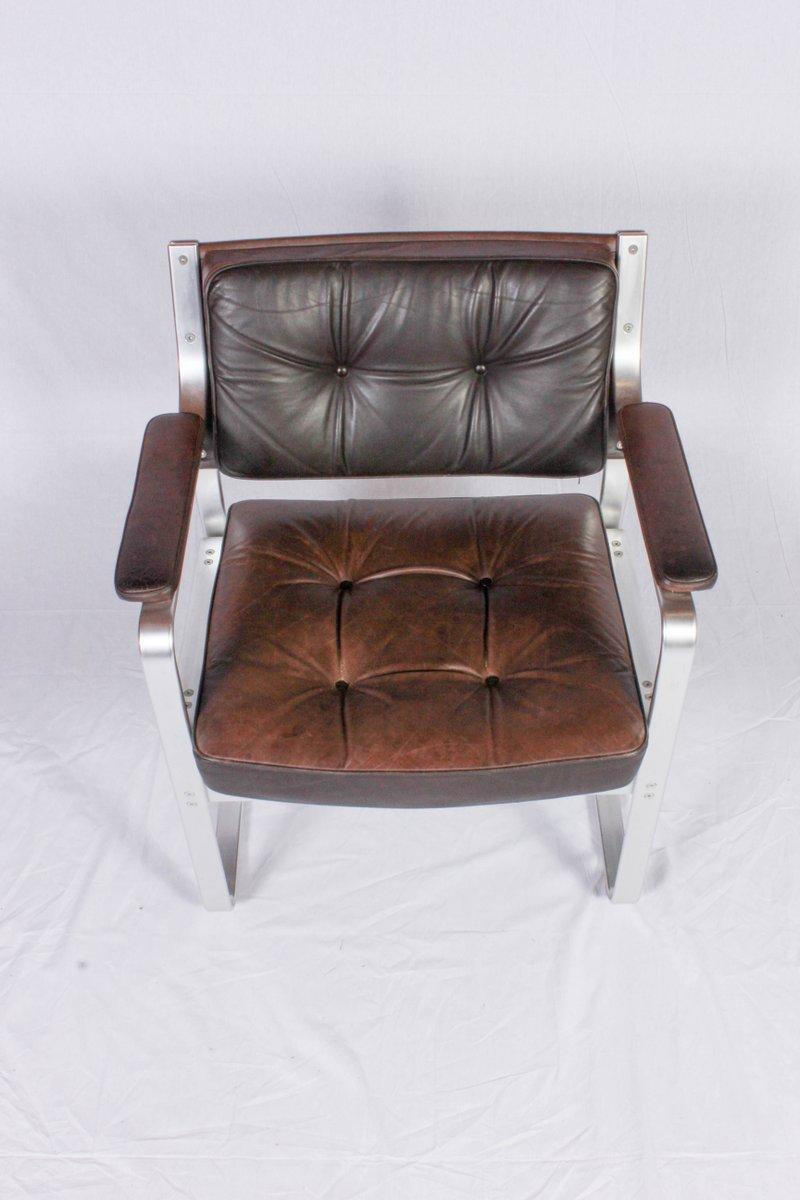 brauner mondo leder aluminium armlehnstuhl von karl erik. Black Bedroom Furniture Sets. Home Design Ideas