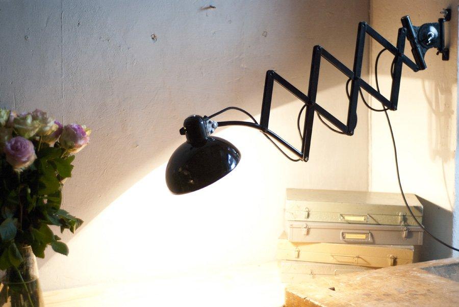 Vintage Black 6614 Scissor Lamp By Christian Dell For