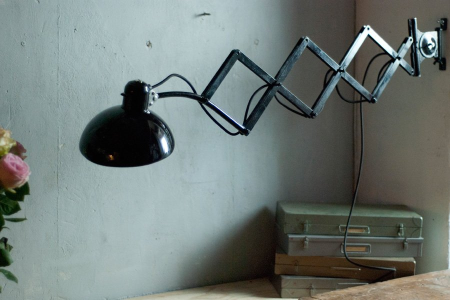 Vintage Black 6614 Scissor Lamp By Christian Dell For