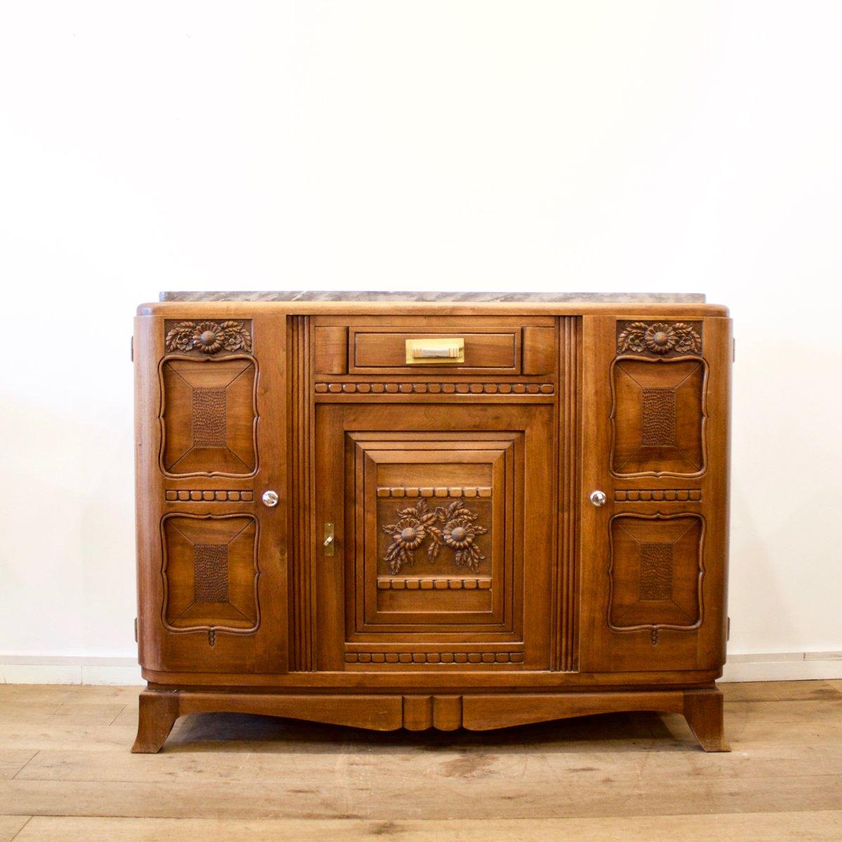 franz sisches buffet mit marmorplatte 1930er bei pamono kaufen. Black Bedroom Furniture Sets. Home Design Ideas