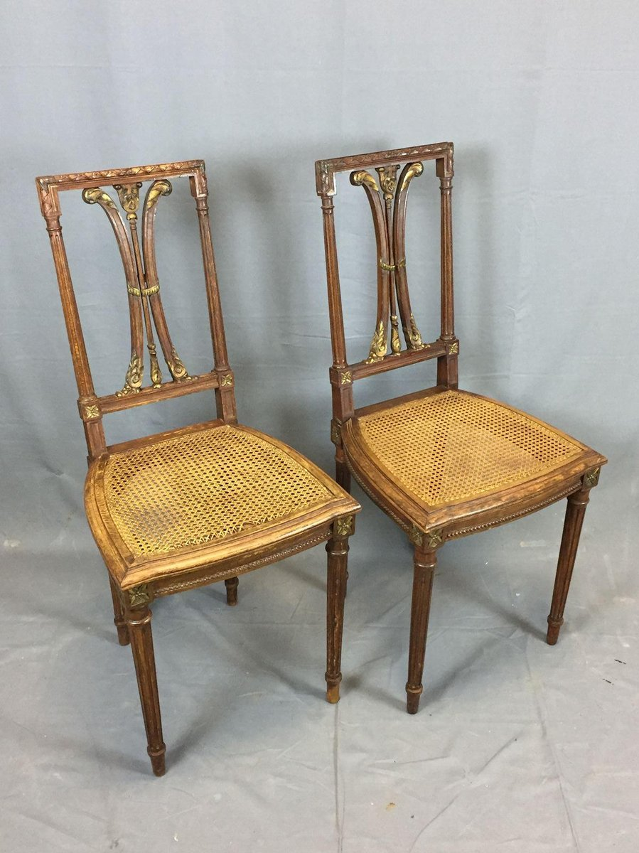 Vintage Oak Dining Chairs Set Of 2