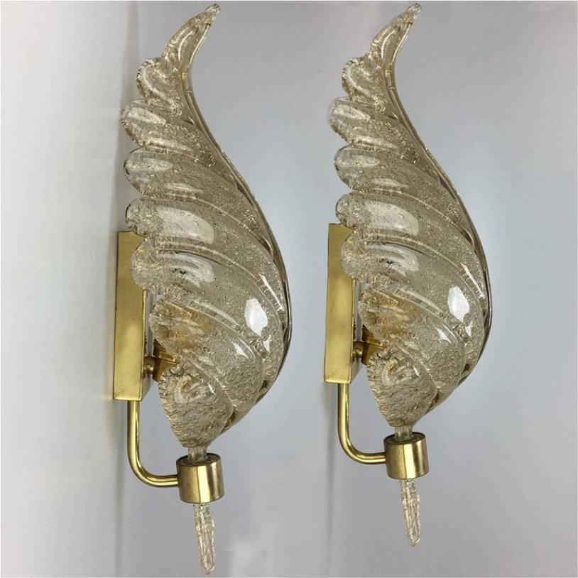Merveilleux Large Wall Sconces In Golden Murano Glass From Barovier U0026 Toso, 1960s, Set  Of 2