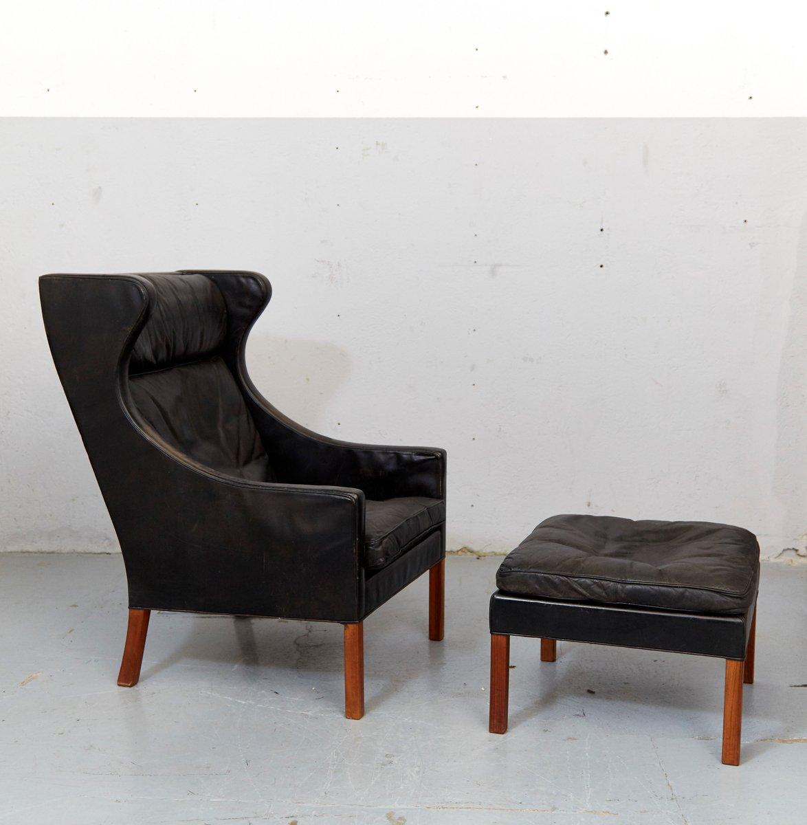 mid century modell 2204 ohrensessel ottomane von b rge mogensen f r fredericia bei pamono kaufen. Black Bedroom Furniture Sets. Home Design Ideas