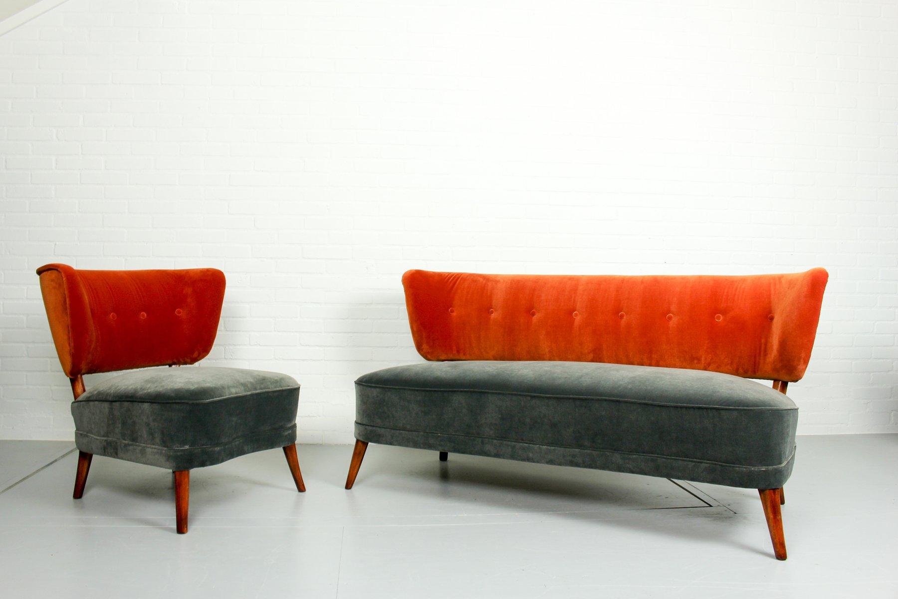vintage cocktail sessel und sofa aus samt 1950er 2er set. Black Bedroom Furniture Sets. Home Design Ideas