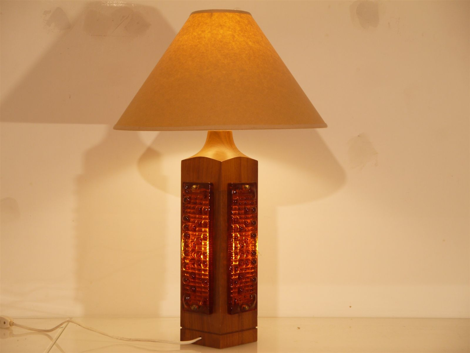 Large teak glass table lamp 1960s for sale at pamono large teak glass table lamp 1960s mozeypictures Choice Image
