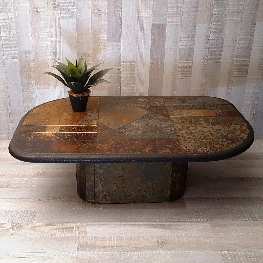 table basse brutaliste en ardoise et bronze 1980s en vente sur pamono. Black Bedroom Furniture Sets. Home Design Ideas