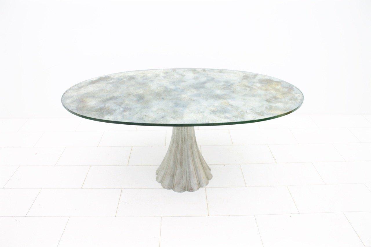 Ovaler esstisch mit verspiegelter glasplatte 1970er bei for Esstisch mit glasplatte