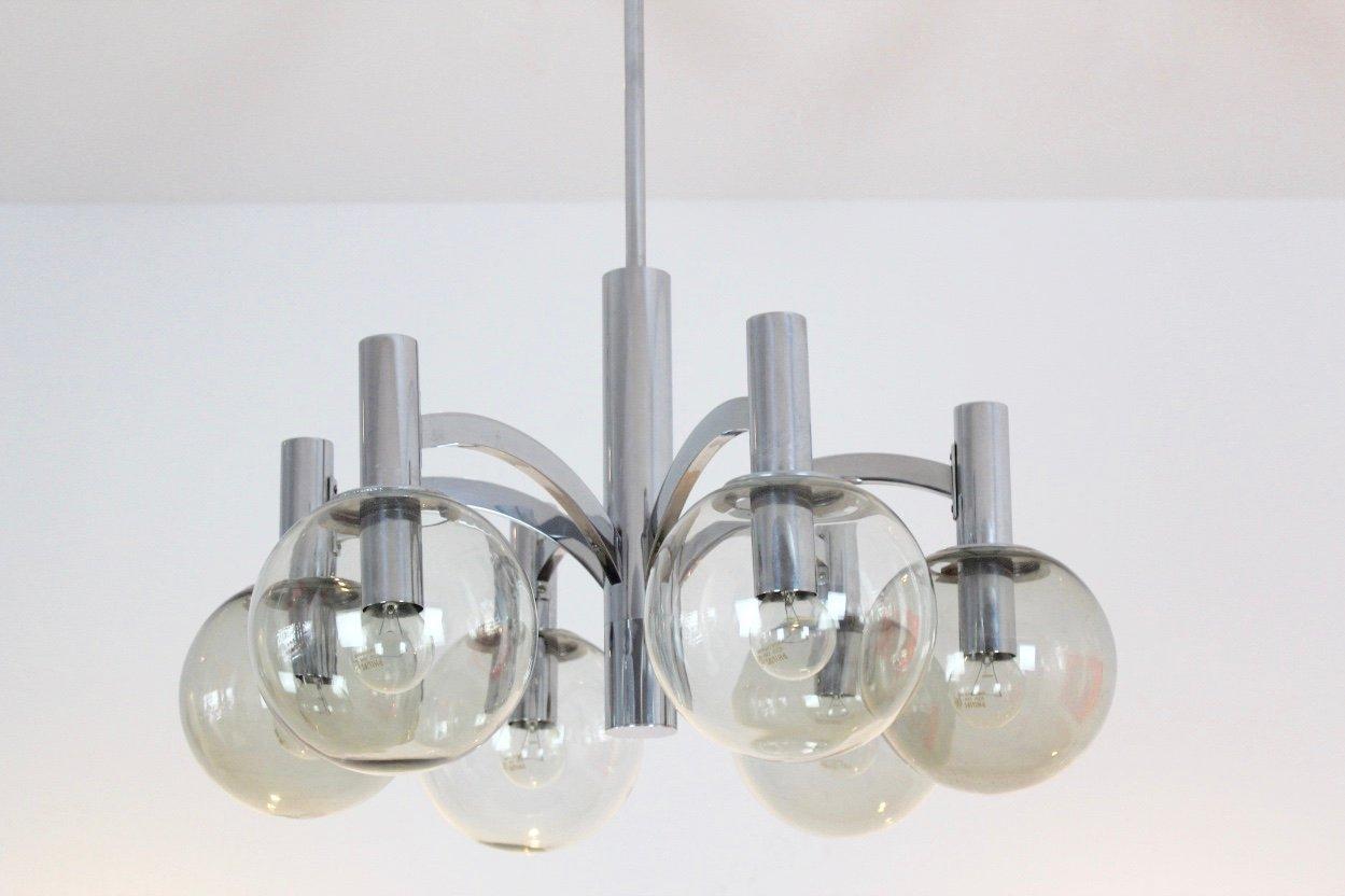 vintage kronleuchter aus chrom glas von kaiser leuchten bei pamono kaufen. Black Bedroom Furniture Sets. Home Design Ideas
