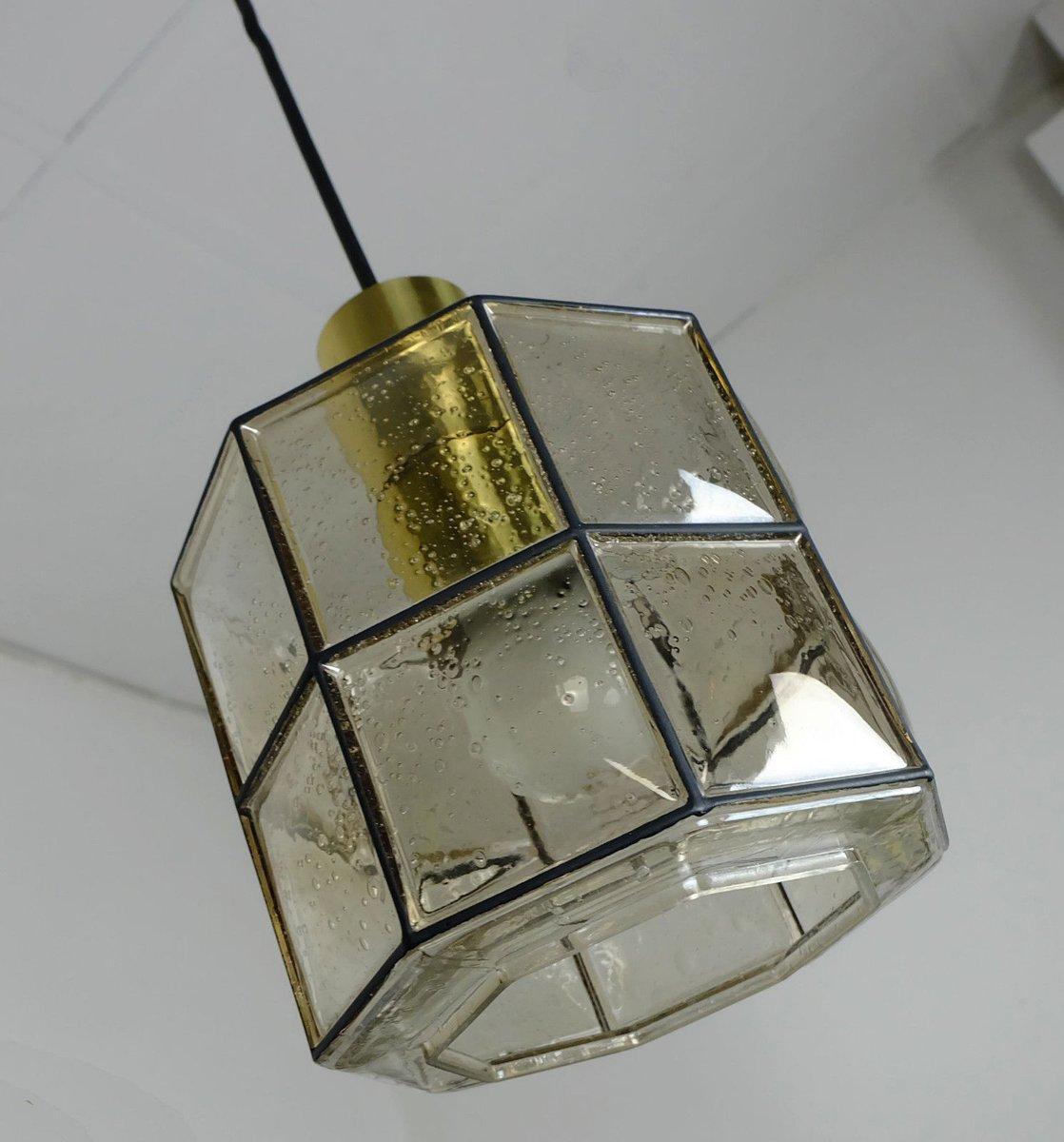 achteckige h ngelampe aus glas von glash tte limburg 1960er bei pamono kaufen. Black Bedroom Furniture Sets. Home Design Ideas