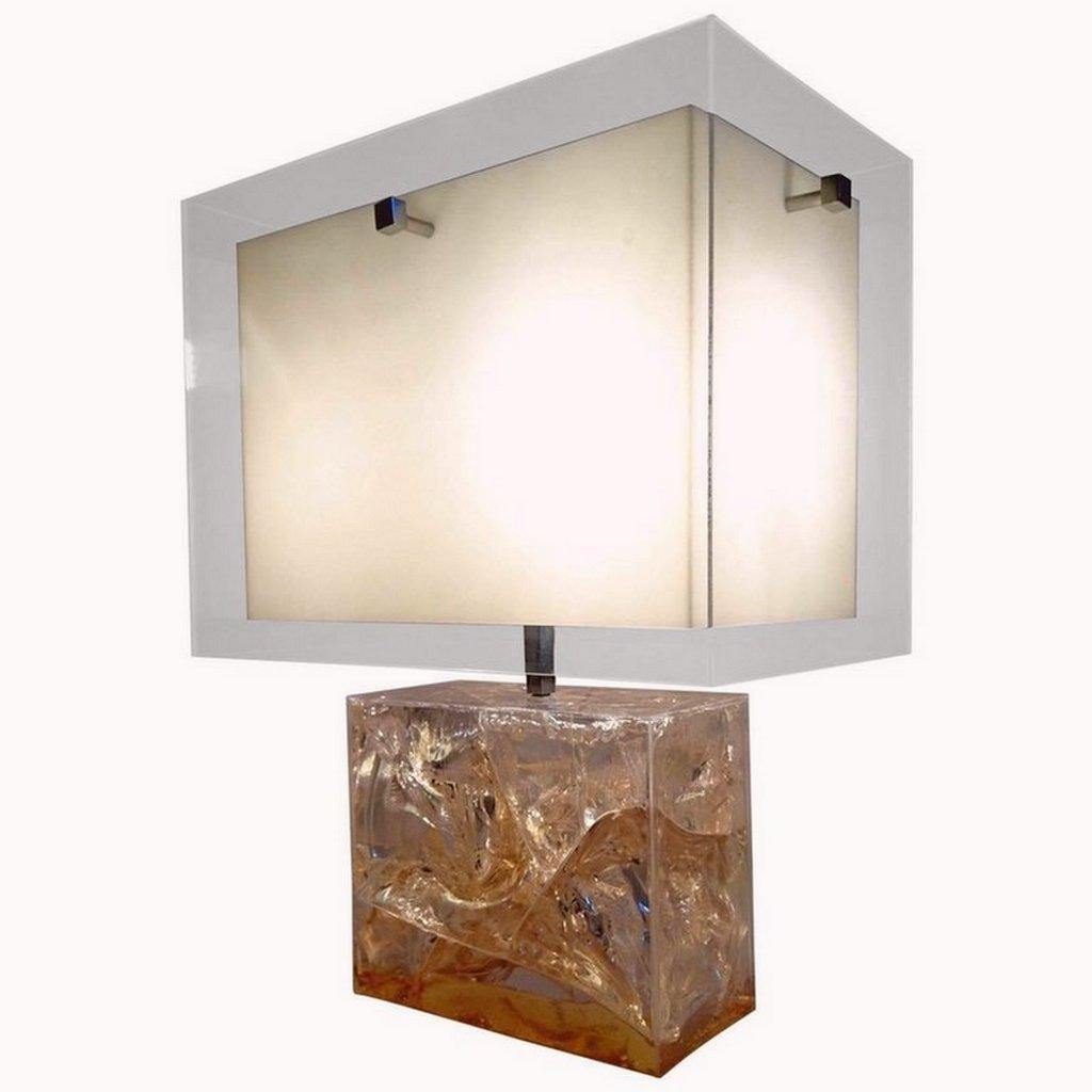 vintage tischlampe aus fraktalem harz von pierre giraudon bei pamono kaufen. Black Bedroom Furniture Sets. Home Design Ideas