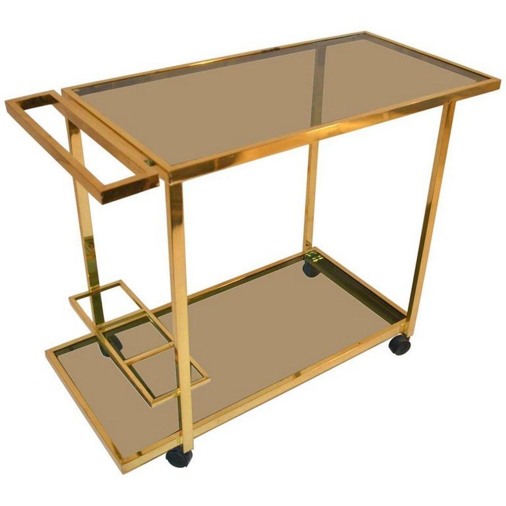 chariot bar vintage en laiton en vente sur pamono. Black Bedroom Furniture Sets. Home Design Ideas