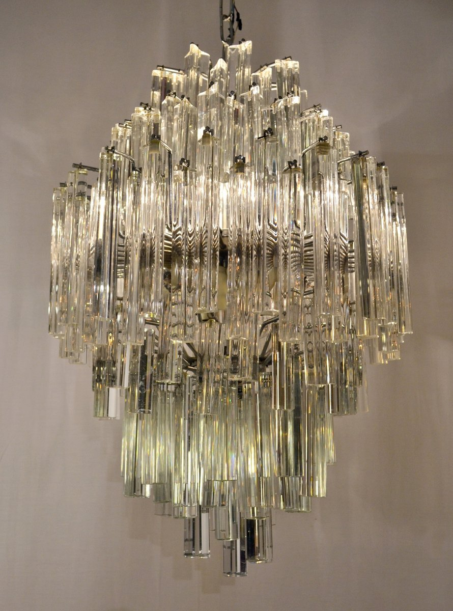 Vintage murano glass triedri chandelier from venini for sale at pamono aloadofball Image collections