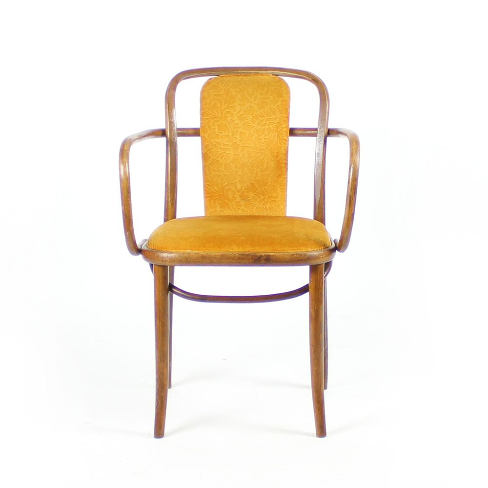 Bentwood Chairs In Gold Velvet By Michael Thonet, 1920s, Set Of 2