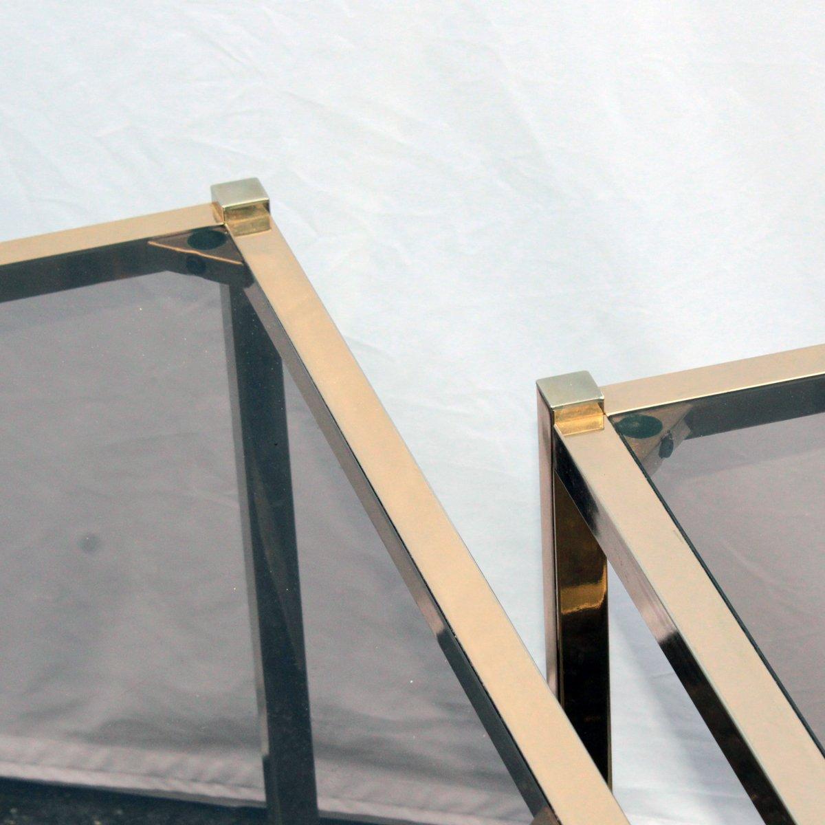 Franz sische vergoldete vintage metall beistelltische 2er for Designer beistelltische metall