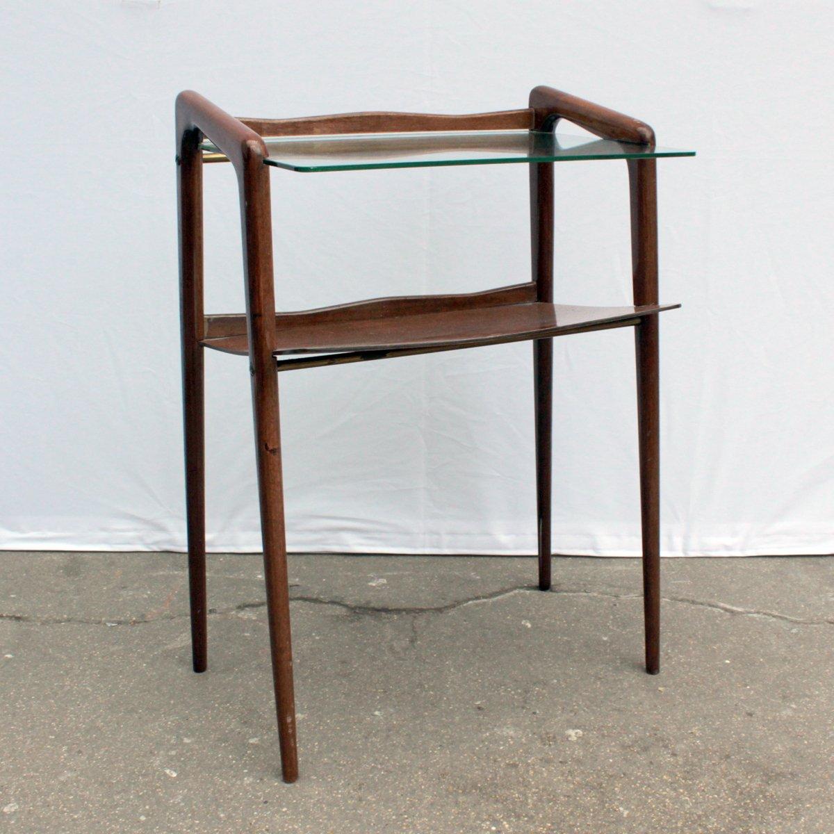 Mid-Century Beistelltisch aus Holz & Glas bei Pamono kaufen
