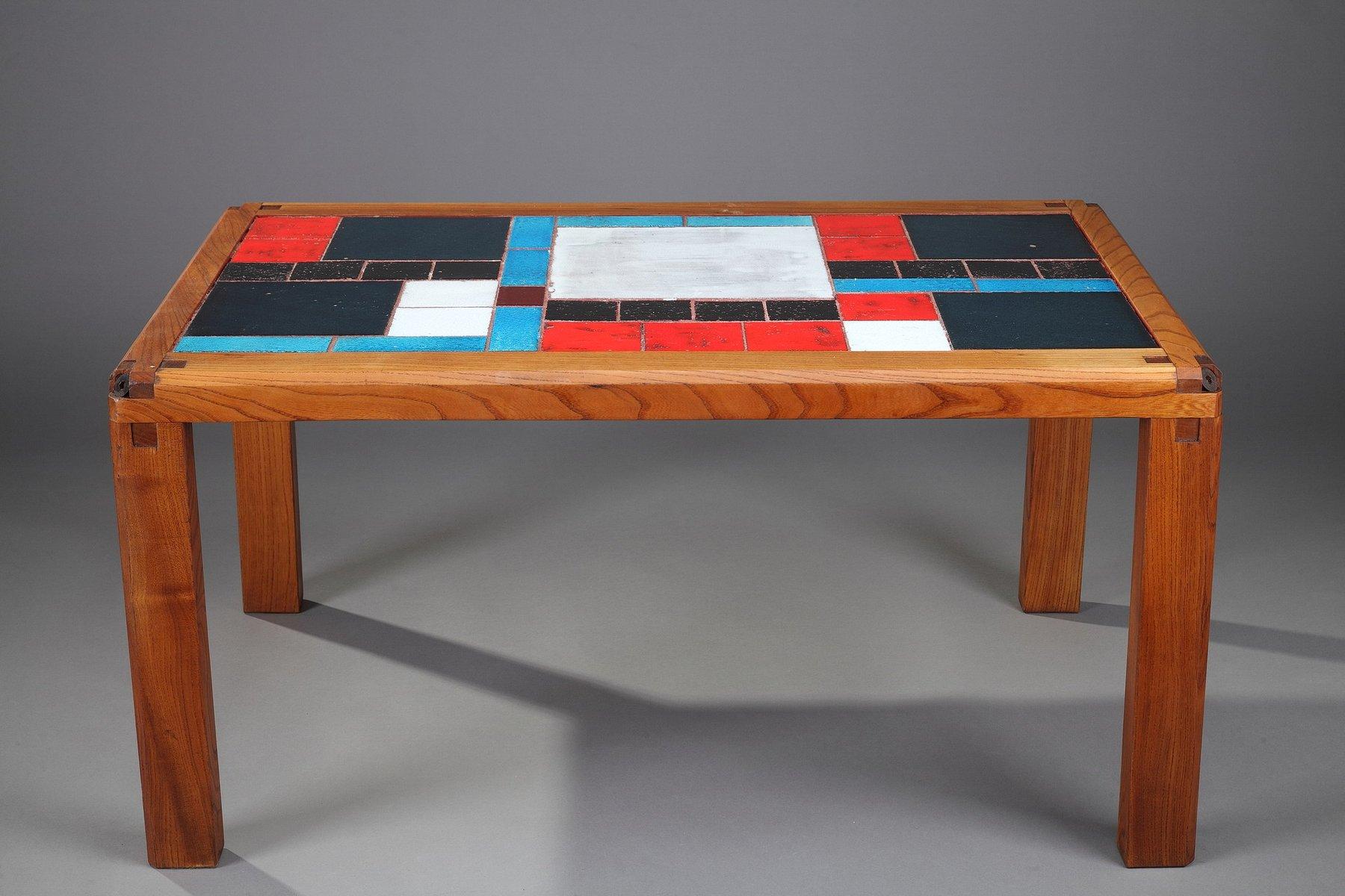 Mid century solid elm ceramic tiles coffee table by pierre chapo ceramic tiles coffee table by pierre chapo 17 398200 price per piece dailygadgetfo Gallery