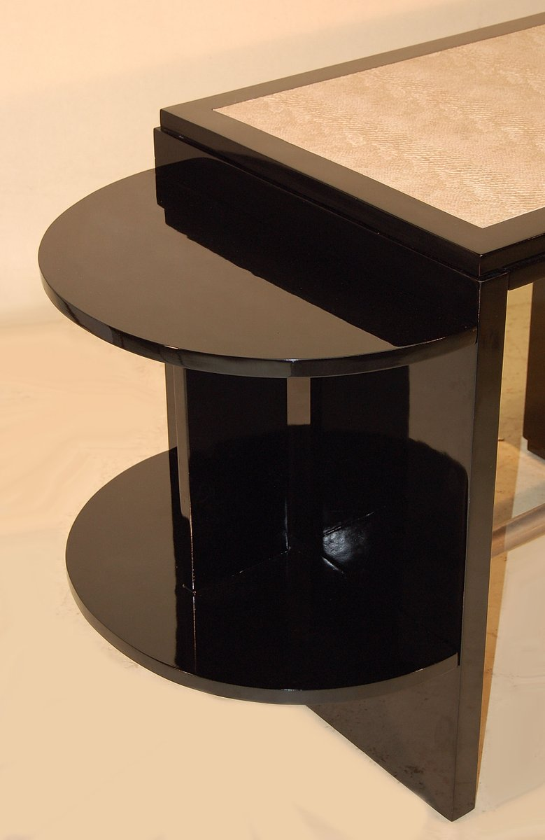 Art deco desk swivel chair in black lacquer for sale at for Chair with swivel desk