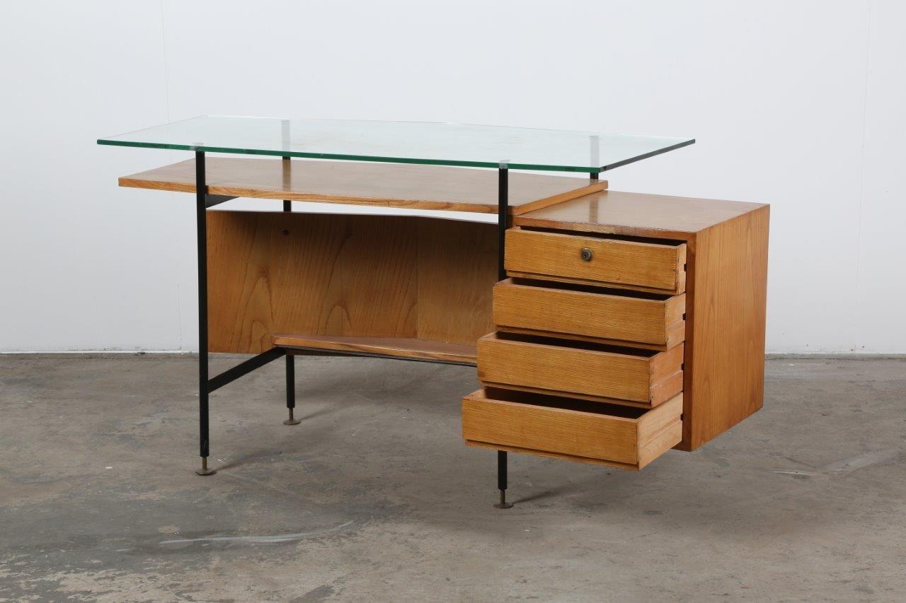 mid century glas schreibtisch bei pamono kaufen. Black Bedroom Furniture Sets. Home Design Ideas