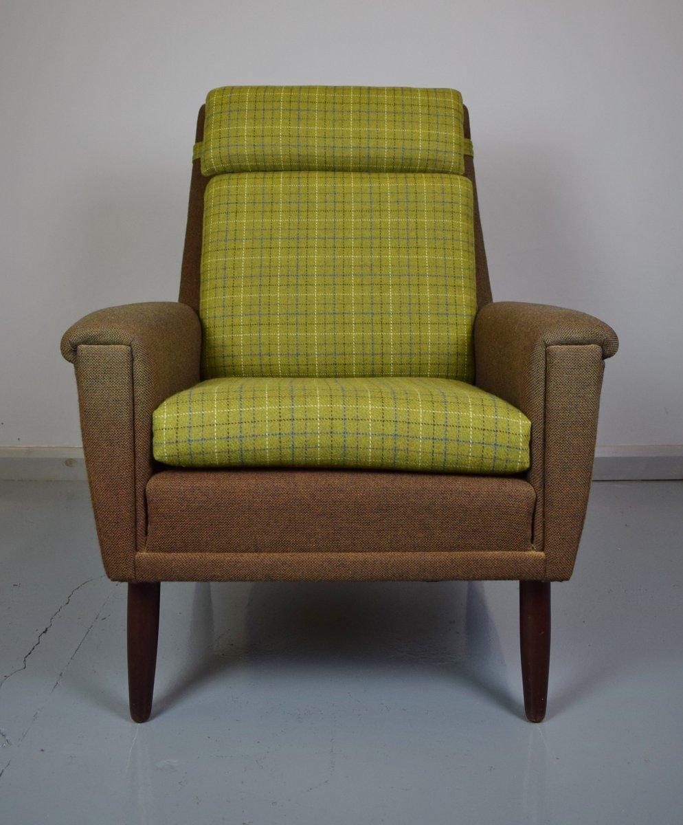 d nischer sessel mit gr nem wollbezug 1960er bei pamono kaufen. Black Bedroom Furniture Sets. Home Design Ideas