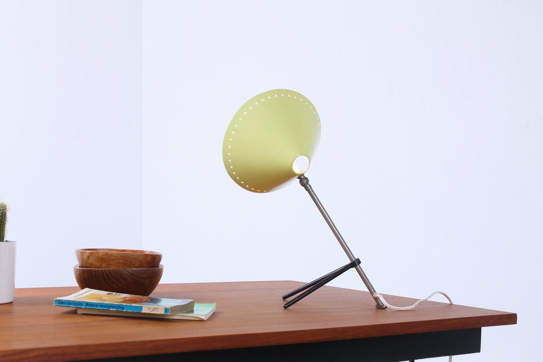 lampe de bureau pinocchio jaune avec abat jour perfor par busquet pour hala 1950s en vente sur. Black Bedroom Furniture Sets. Home Design Ideas
