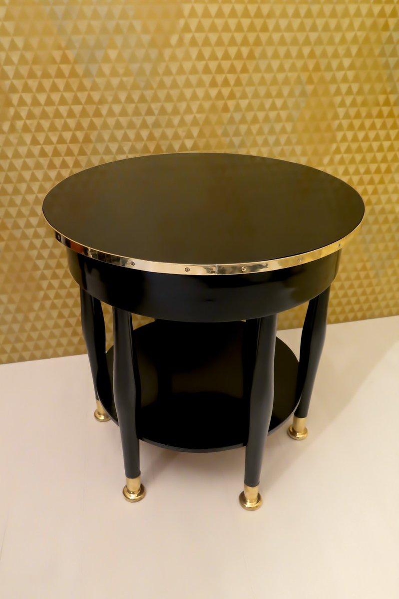 schwarzer jugendstil messing tisch von adolf loos 1910er bei pamono kaufen. Black Bedroom Furniture Sets. Home Design Ideas