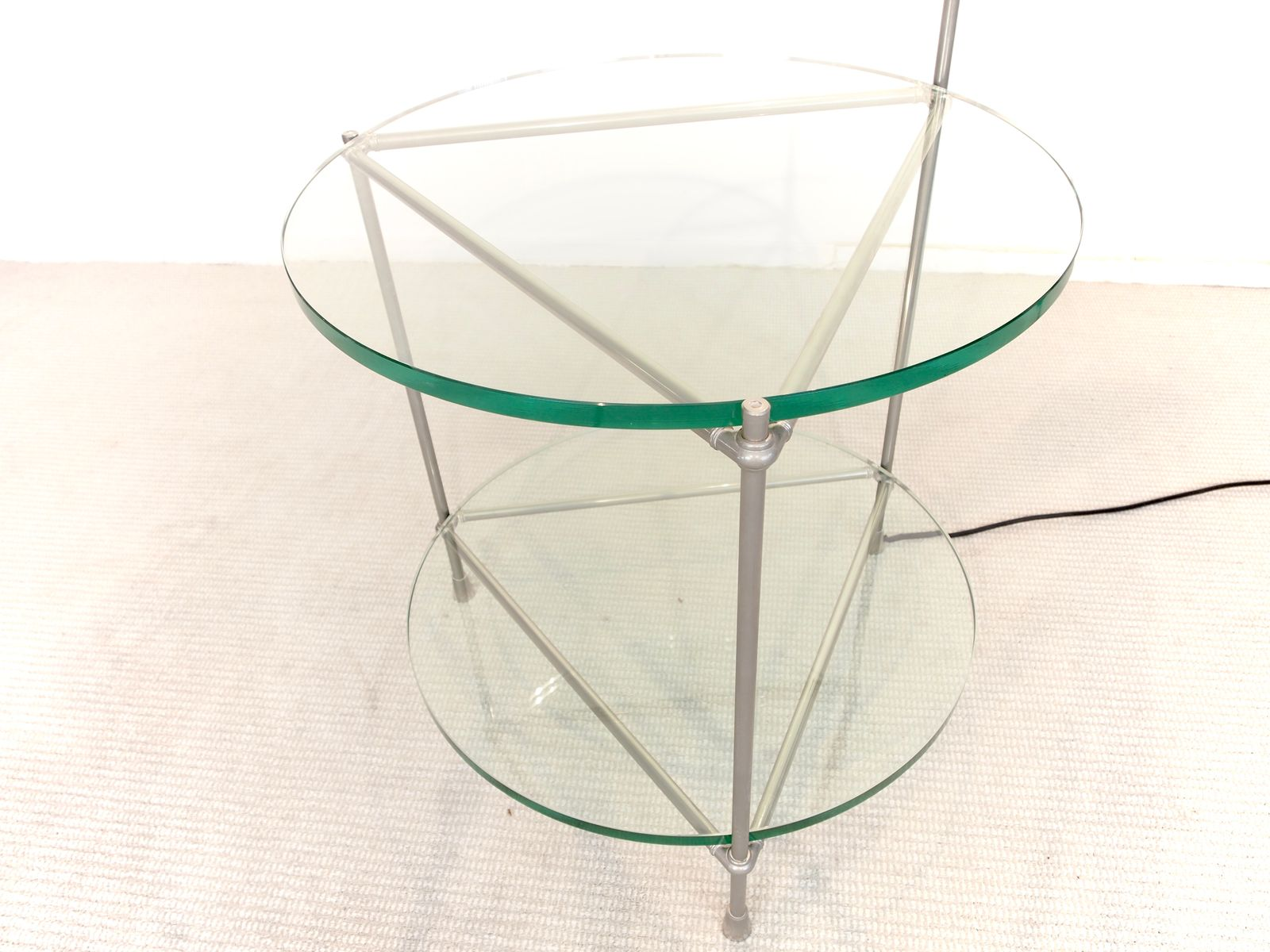 Round Chrome and Glass Side Table with Integrated Lamp by Peter
