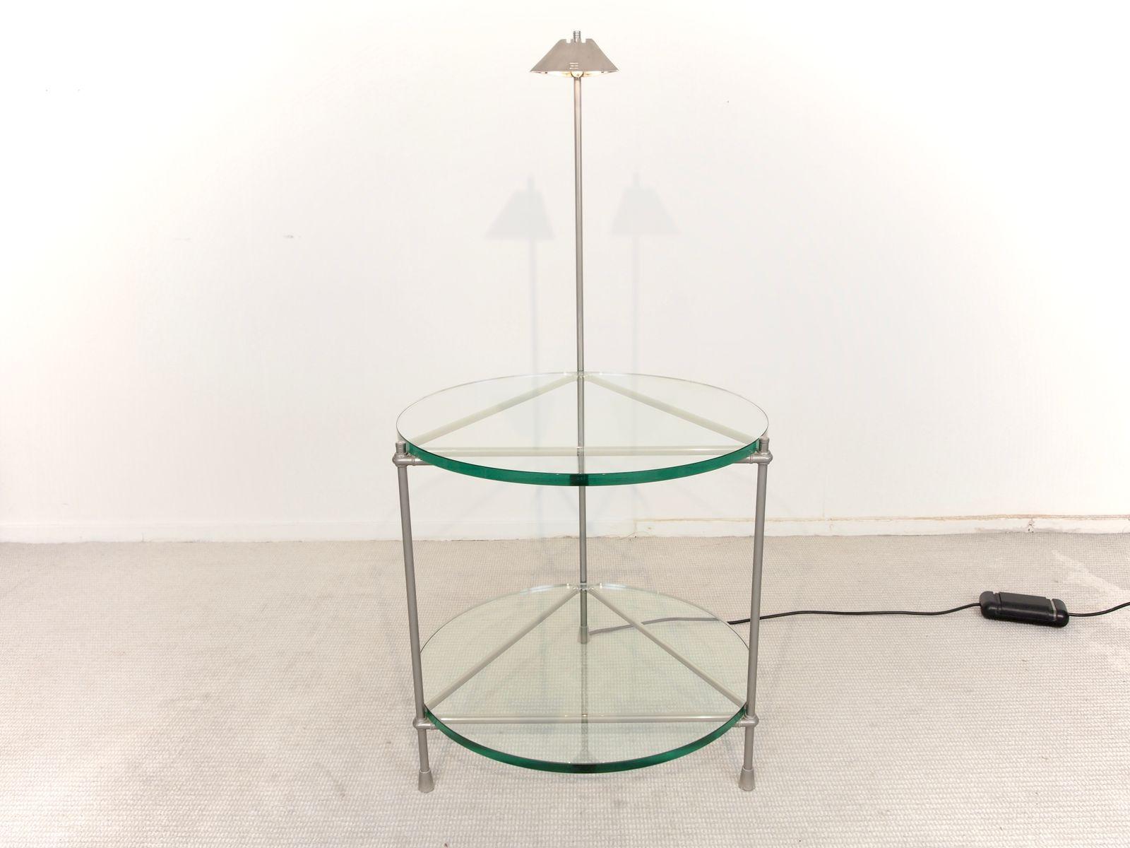 round beistelltisch aus chrom und glas mit integrierter. Black Bedroom Furniture Sets. Home Design Ideas