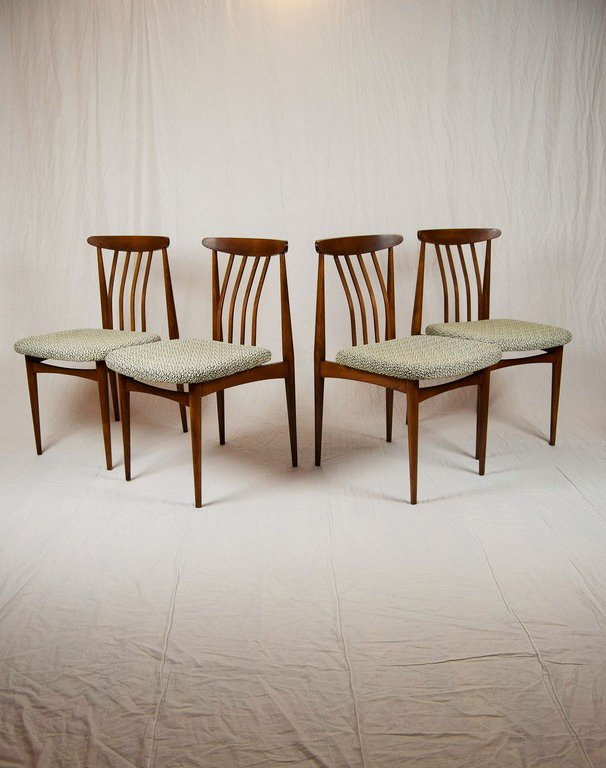 Czechoslovakian upholstered dining chairs 1960s set of 4 for Upholstered dining chairs for sale