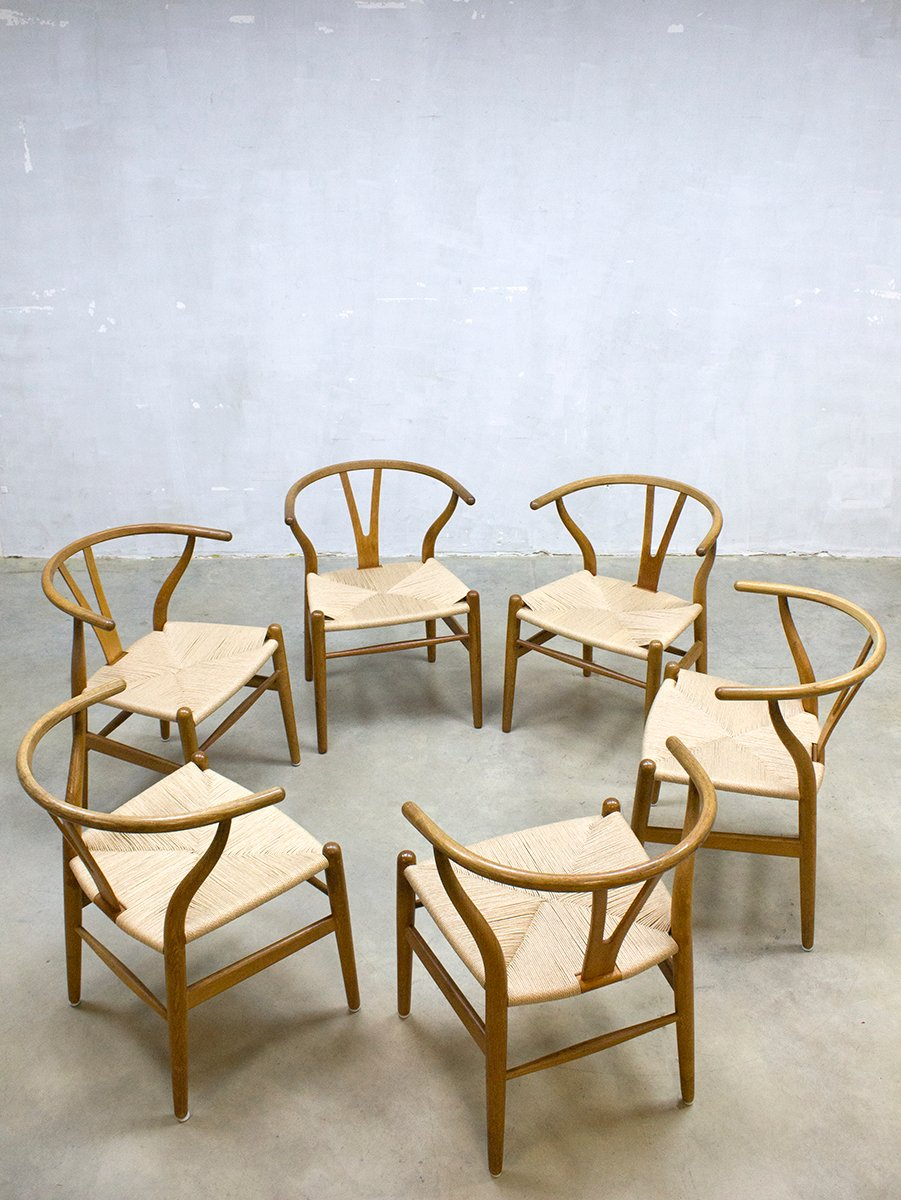 vintage ch24 wishbone st hle von hans wegner f r carl. Black Bedroom Furniture Sets. Home Design Ideas