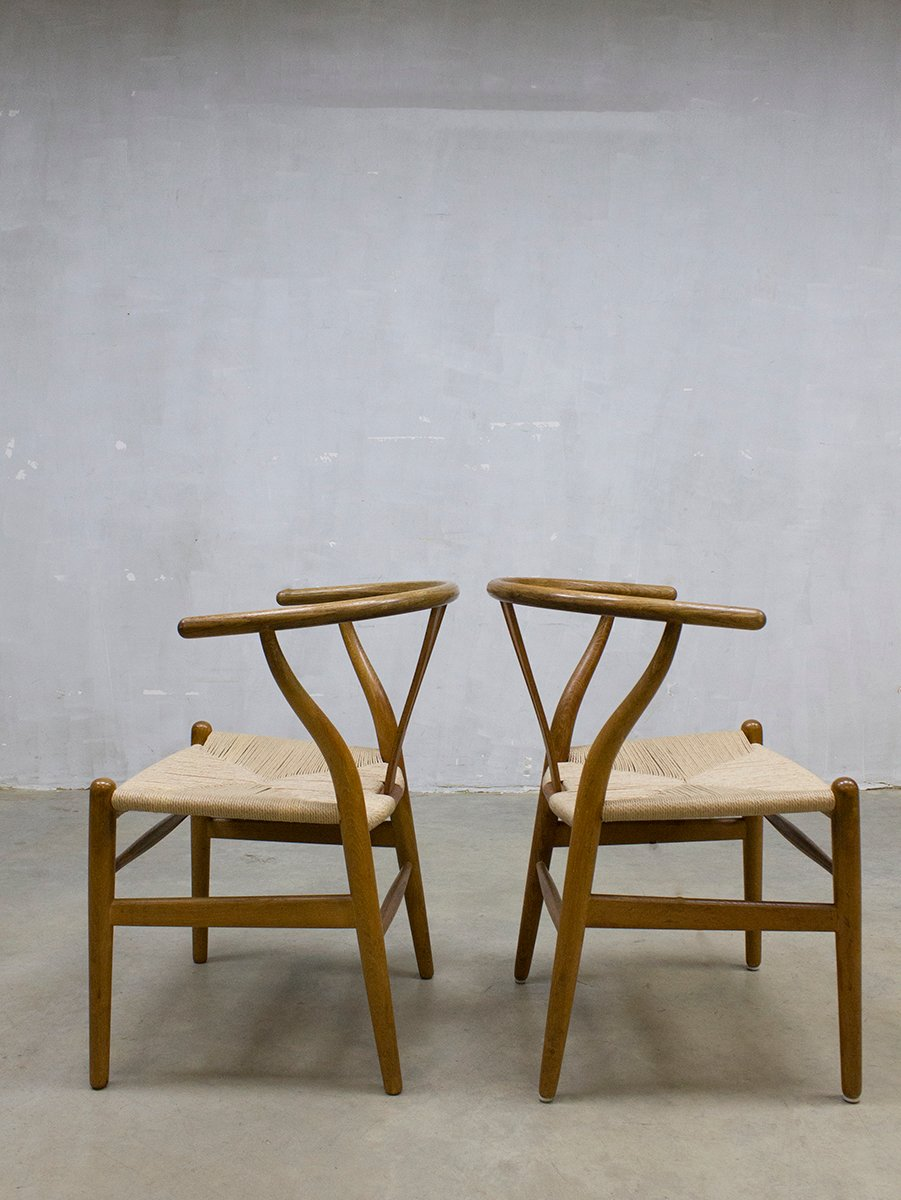 vintage ch24 wishbone st hle von hans wegner f r carl hansen s n 6er set bei pamono kaufen. Black Bedroom Furniture Sets. Home Design Ideas