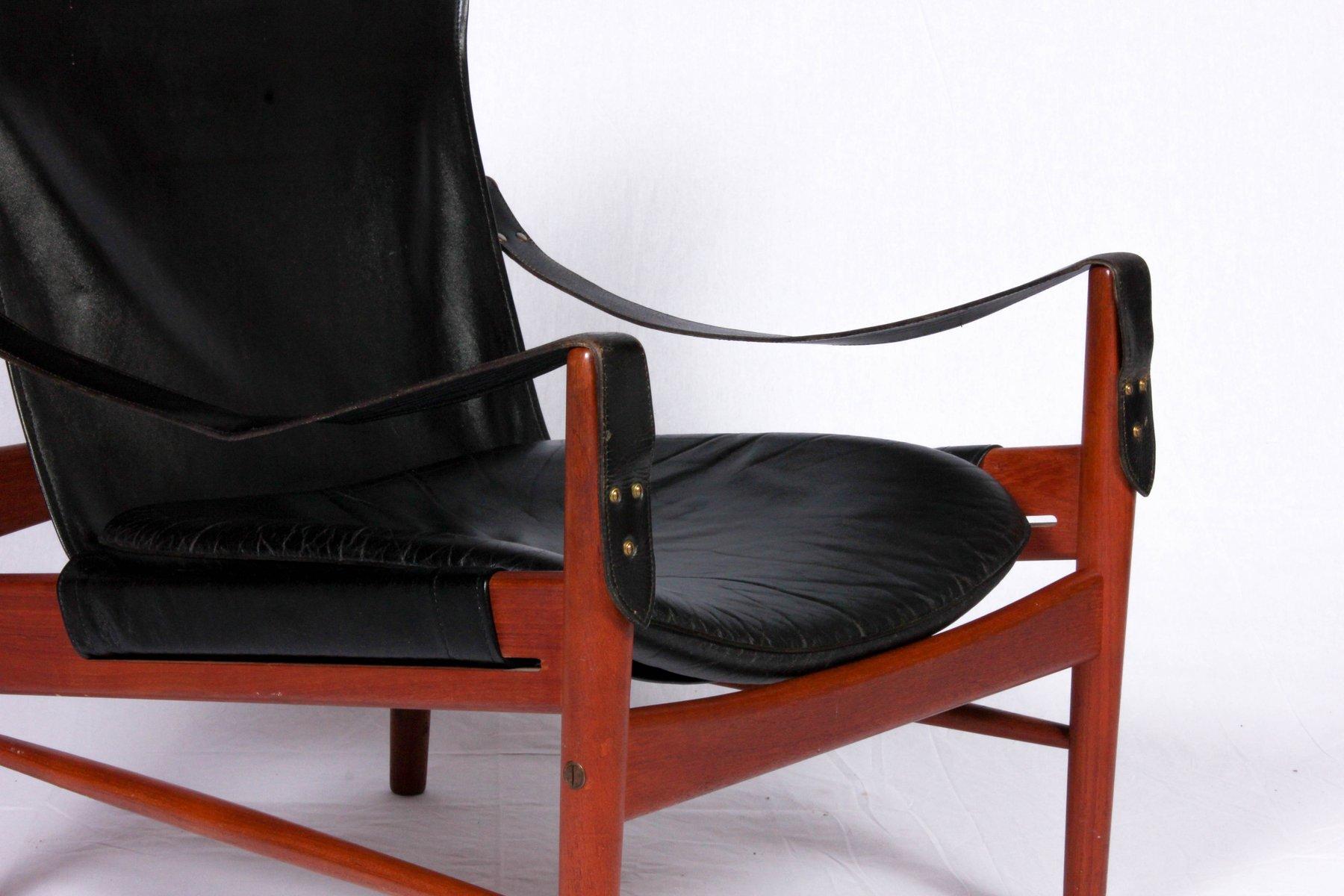 vintage antilop safari chair in black leather and teak by hans