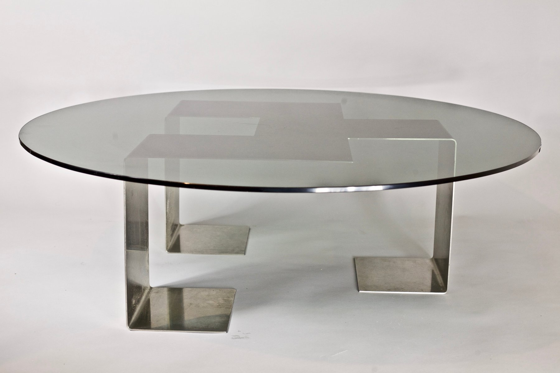 Colima Table in Brushed Steel and Glass by Jean-Pierre Mesmin for ...