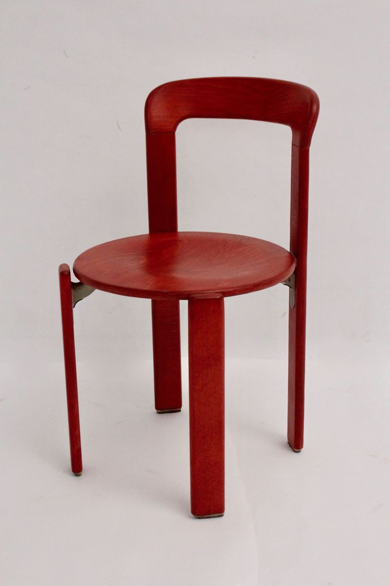 Vintage Red Dining Chairs By Bruno Rey For Kusch U0026 Co, Set Of 4