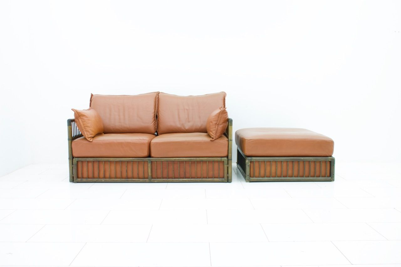Vintage Two Seater Leather Sofa U0026 Ottoman Set From Rolf Benz, 1978