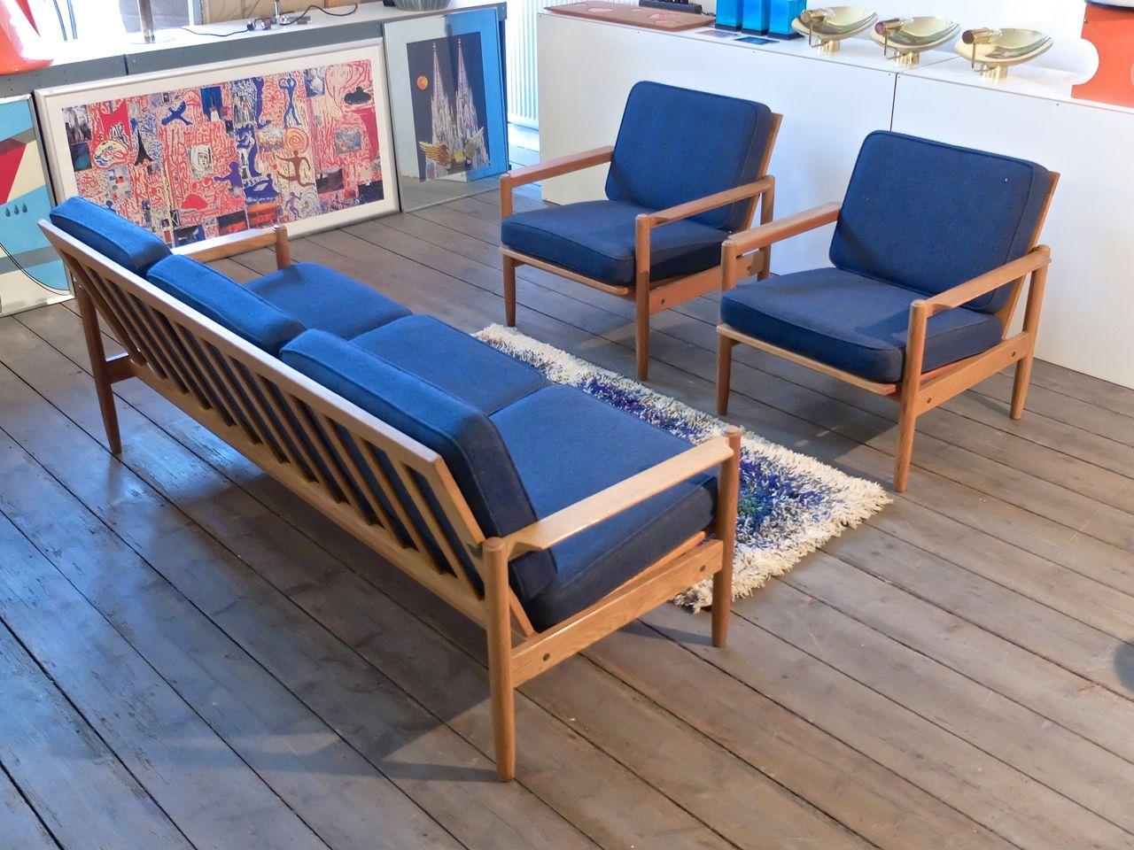 Skandinavische Vintage Eichenholz Sitzgruppe bei Pamono kaufen