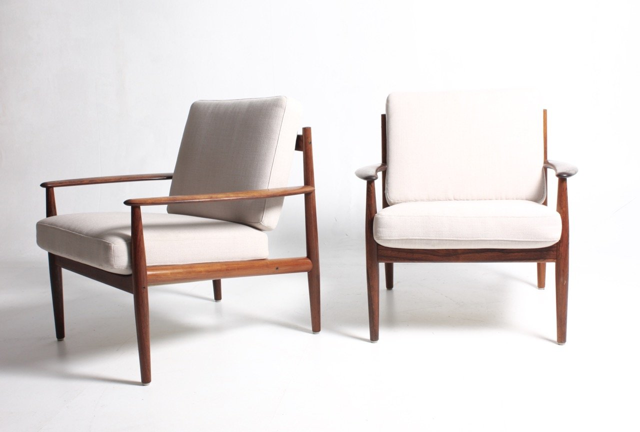 Mid Century Lounge Chairs By Grete Jalk For France U0026 Søn, Set Of 2