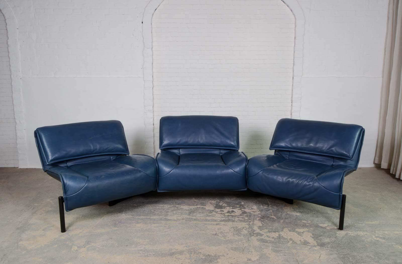blaues mid century veranda sofa von vico magistretti f r cassina 1970er bei pamono kaufen. Black Bedroom Furniture Sets. Home Design Ideas