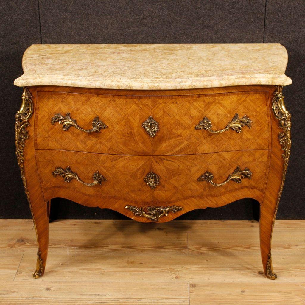 franz sische mid century palisander intarsie kommode mit. Black Bedroom Furniture Sets. Home Design Ideas