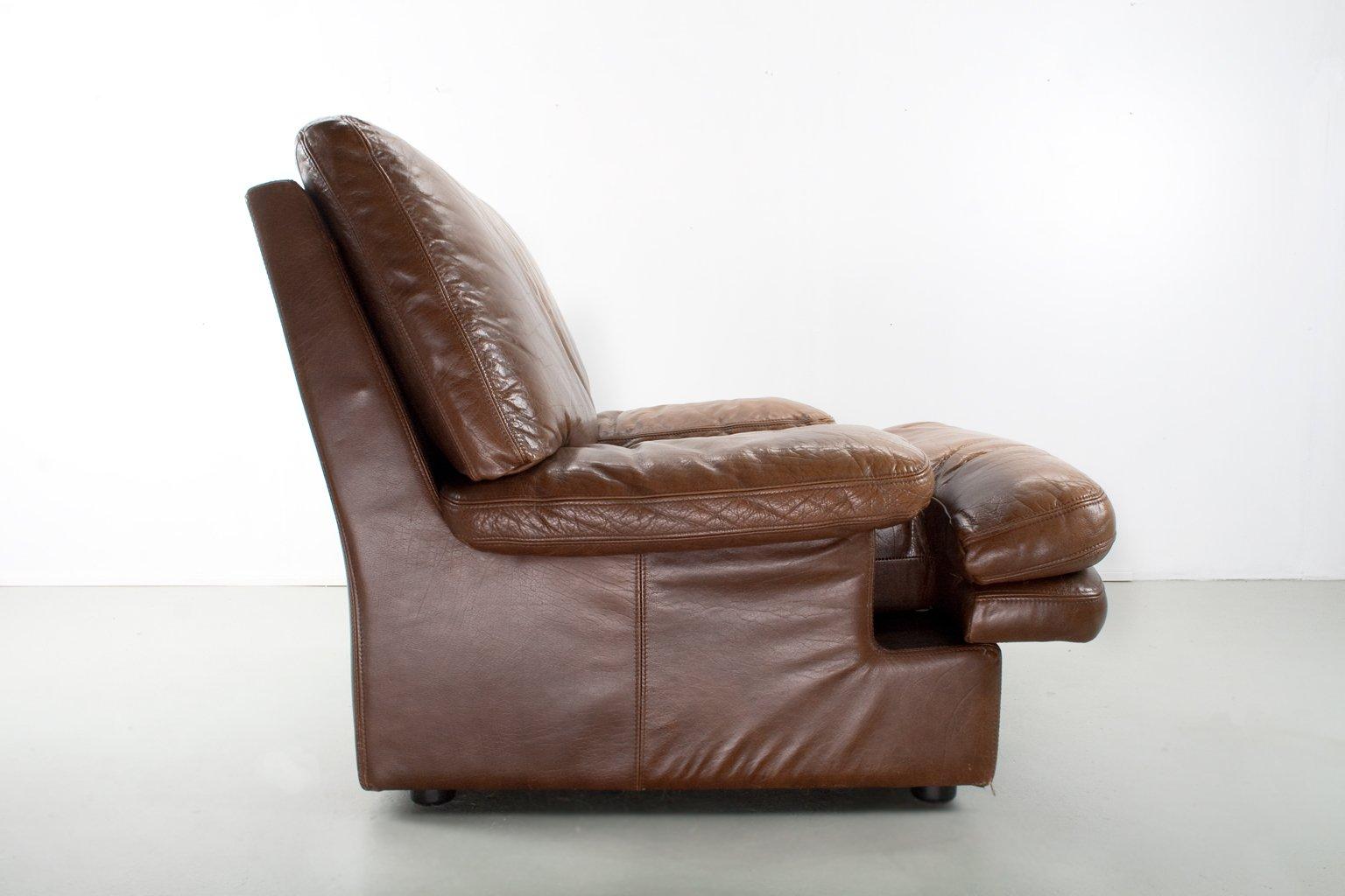 brauner mid century modern ledersessel bei pamono kaufen. Black Bedroom Furniture Sets. Home Design Ideas