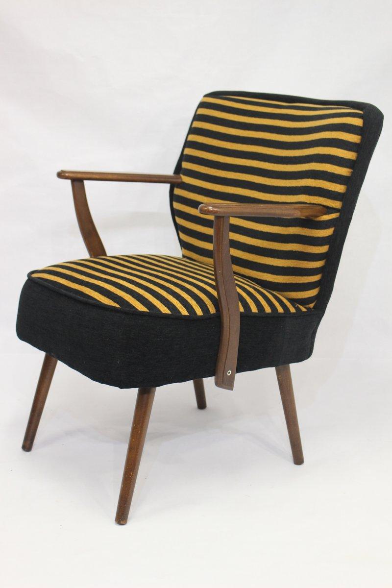 gestreifter vintage sessel 1950er bei pamono kaufen. Black Bedroom Furniture Sets. Home Design Ideas