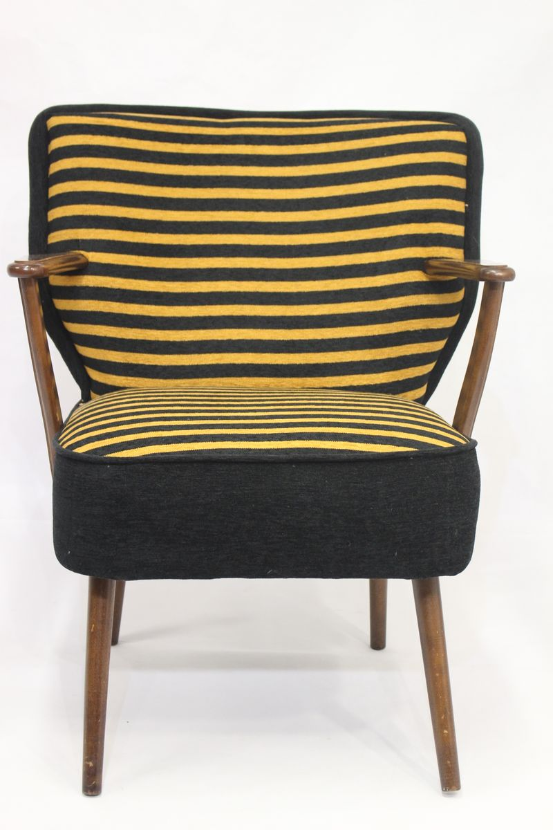 Vintage Armchair In Striped Fabric, 1950s