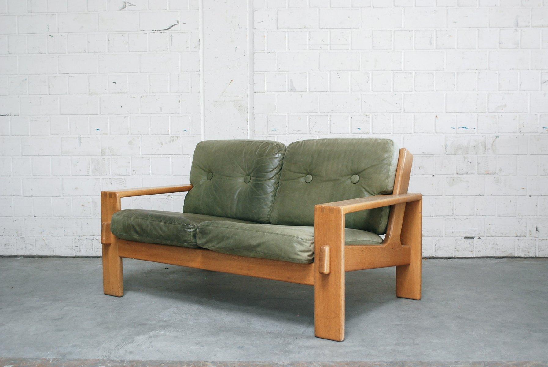 Vintage Bonanza Green Leather Sofa By Esko Pajamies For Asko