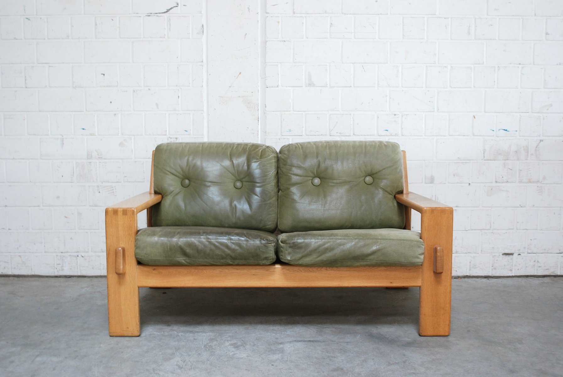 Vintage Bonanza Green Leather Sofa By Esko Pajamies For Asko