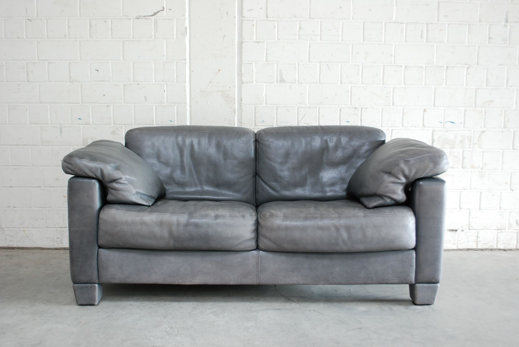 Beau Swiss DS 17 Grey Leather Sofa From De Sede, 1980s
